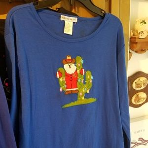 Cowboy Santa Blue Long Sleeve Tee Medium
